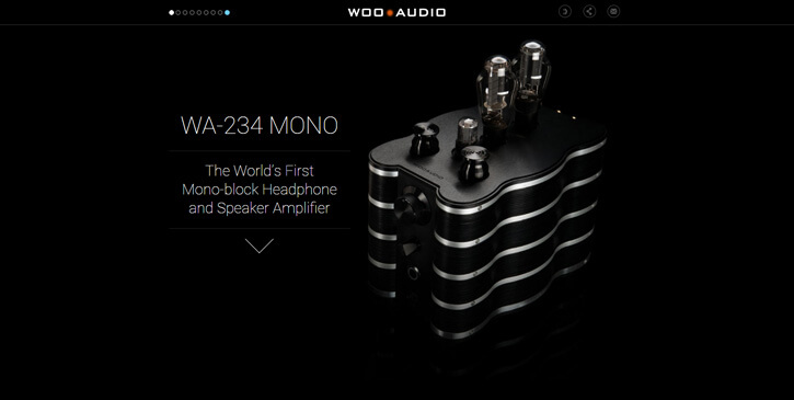 234 MONO speaker dark themed website design