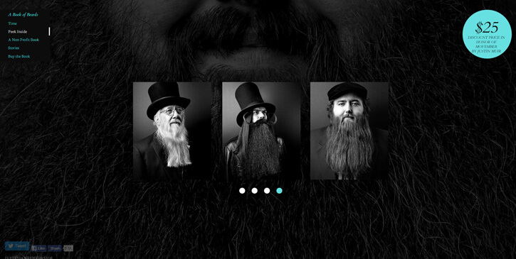 A Book of Beards dark themed website design