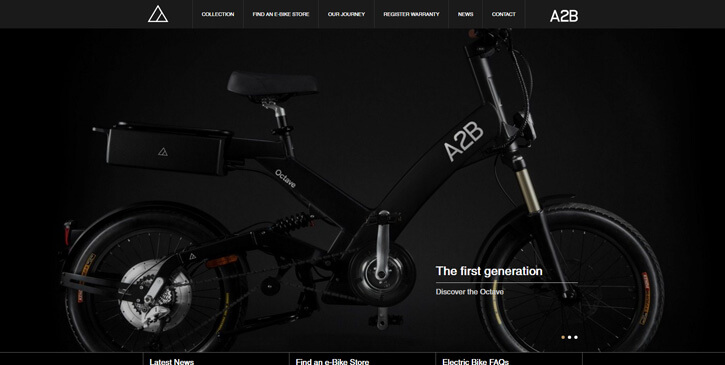 A2B Electric Bikes dark themed website design