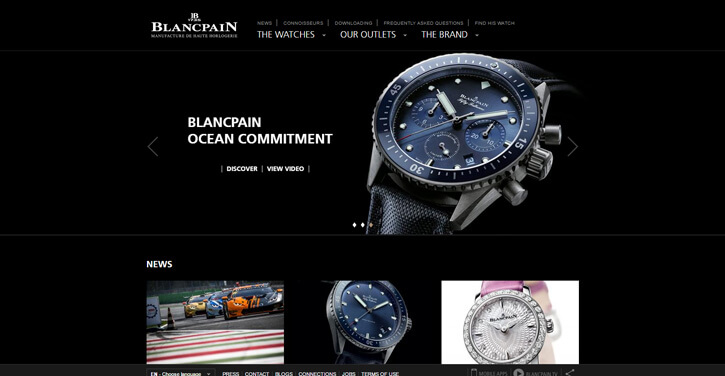 Blancpain dark themed website design