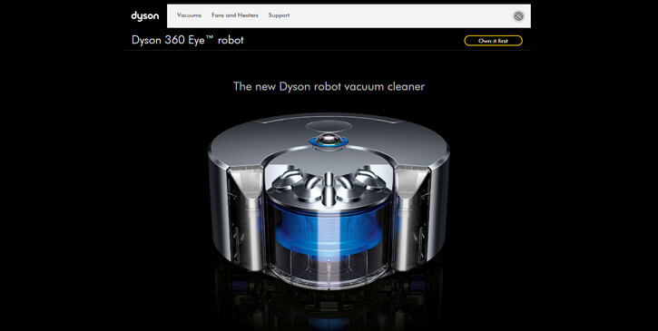 Dyson 360 Eye™ robot dark themed website design