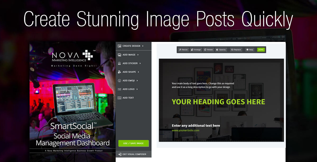 Create Stunning Image Posts Quickly - SmartSocial Social Media Management Dashboard