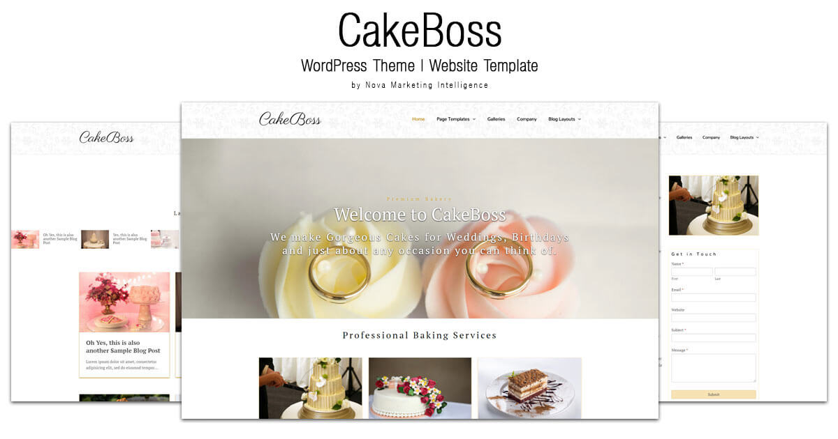 CakeBoss Cake/Bakery WordPress Theme Website Template from Nova Marketing Intelligence