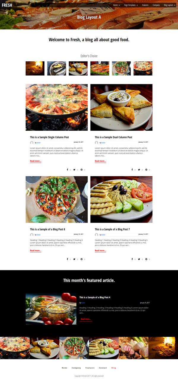 Fresh Foodie Blog WordPress Theme | Website Template - Home Page Layout 02 - Nova Marketing Intelligence