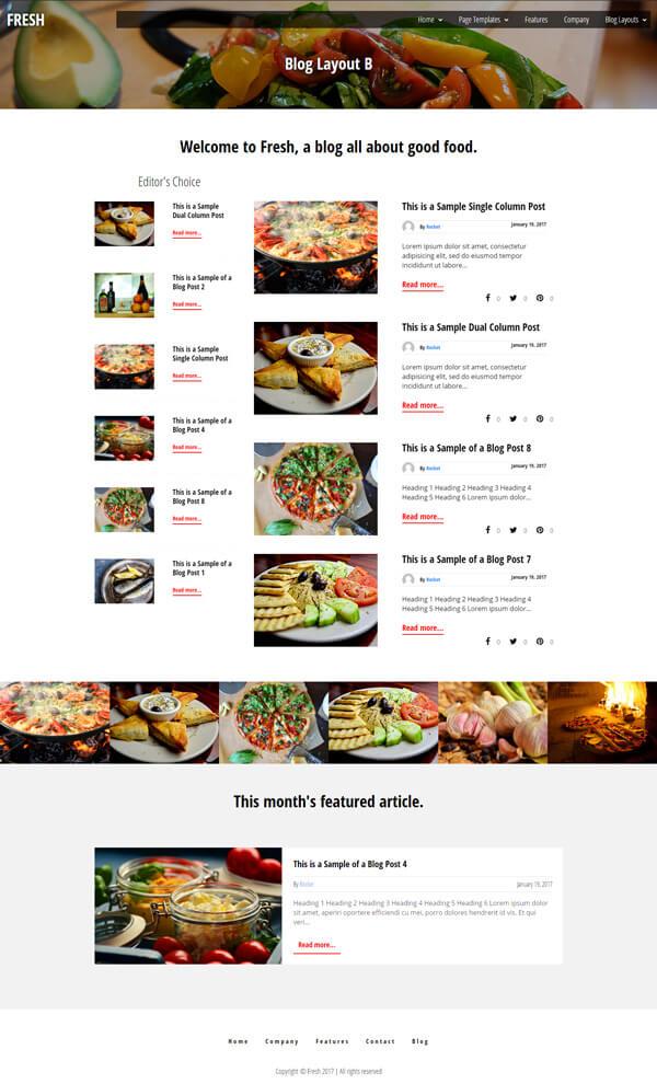 Fresh Foodie Blog WordPress Theme | Website Template - Home Page Layout 03 - Nova Marketing Intelligence