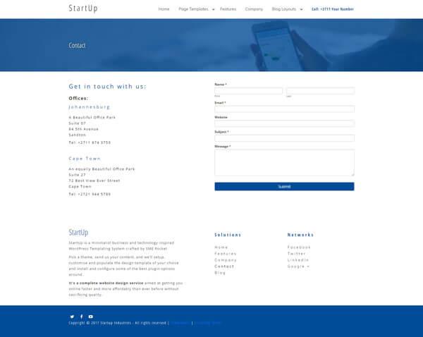 Startup WordPress Theme | Website Template - Contact Page Layout - Nova Marketing Intelligence