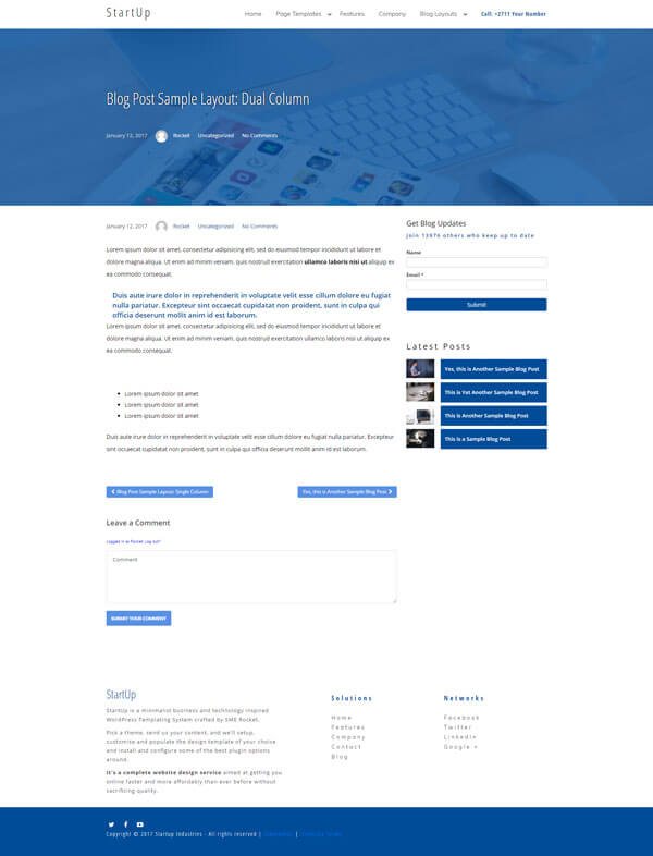 Startup WordPress Theme | Website Template - Dual Column Blog Post Layout - Nova Marketing Intelligence