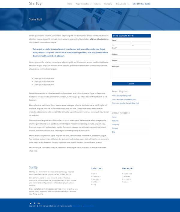 Startup WordPress Theme | Website Template - Right Sidebar Page Layout - Nova Marketing Intelligence