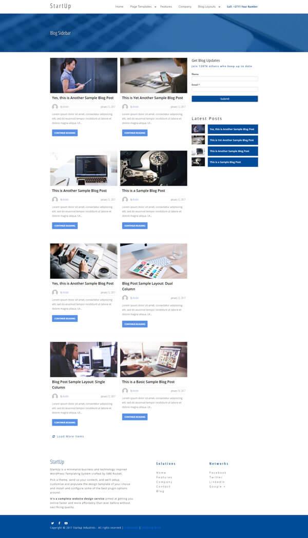 Startup WordPress Theme | Website Template - Sidebar Blog Layout - Nova Marketing