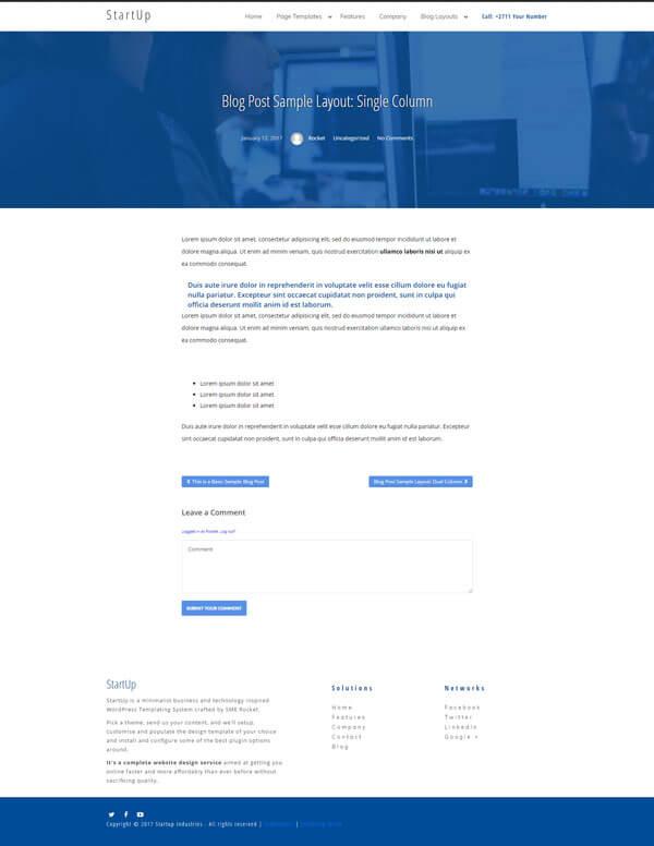 Startup WordPress Theme | Website Template - Single Column Blog Post Layout - Nova Marketing Intelligence