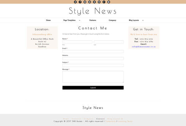 Style News Magazine Style Blog WordPress Theme | Website Template - Contact Page Layout - Nova Marketing Intelligence