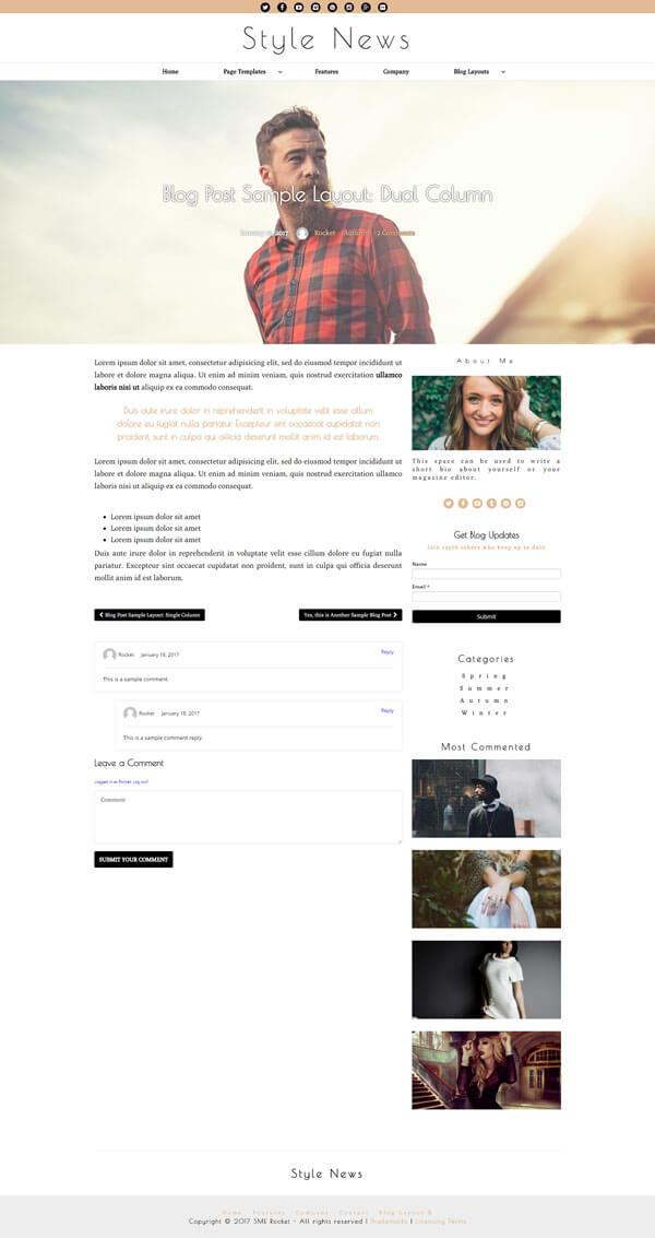 Style News Magazine Style Blog WordPress Theme | Website Template - Dual Column Blog Post Layout - Nova Marketing Intelligence