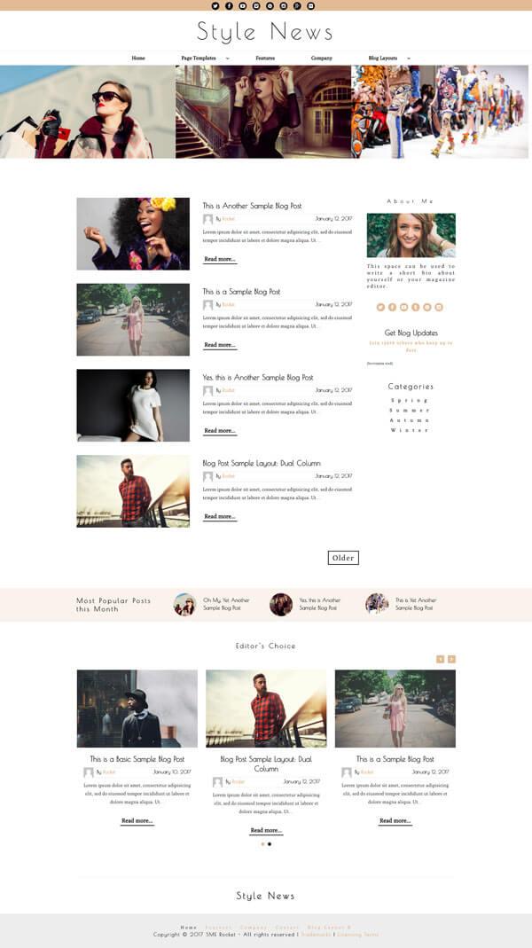 Style News Magazine Style Blog WordPress Theme | Website Template - Home Page Layout 01 - Nova Marketing Intelligence