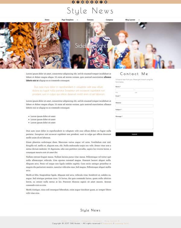 Style News Magazine Style Blog WordPress Theme | Website Template - Right Sidebar Page Layout - Nova Marketing Intelligence