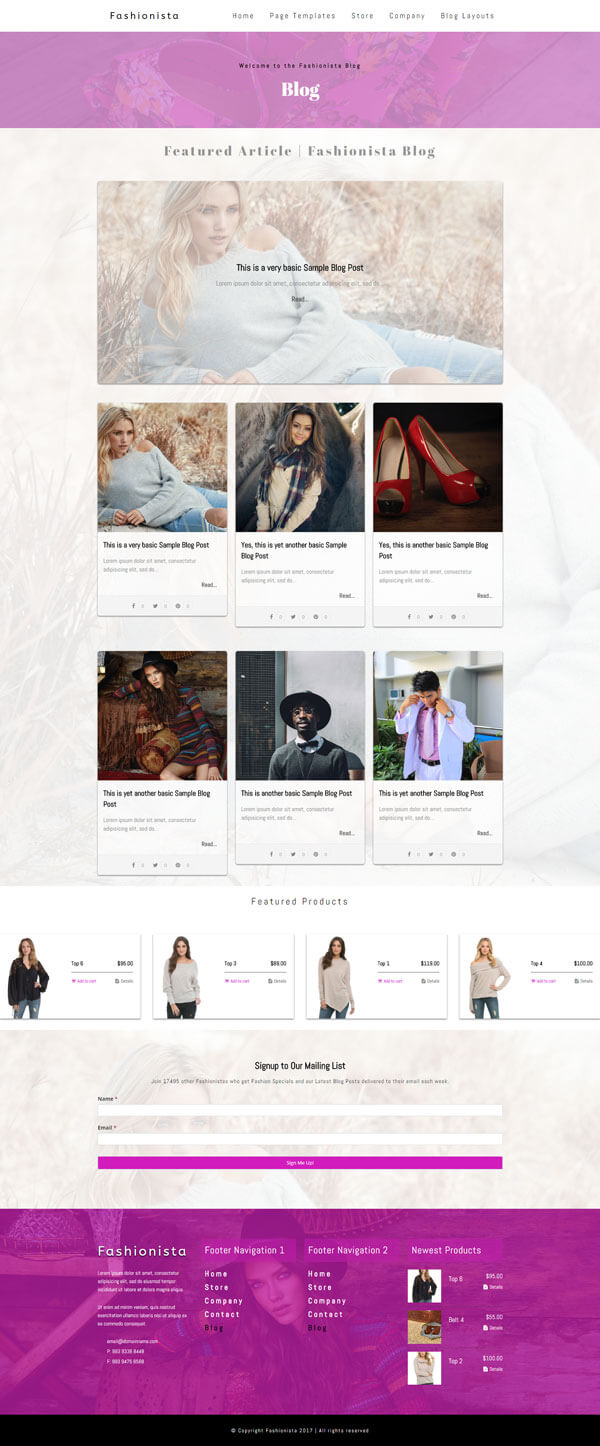 Fashionista - Fashion WordPress Theme | Website Template - Blog Layout A - Nova Marketing Intelligence