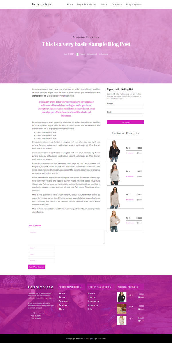 Fashionista - Fashion WordPress Theme | Website Template - Dual Column Blog Post Layout 01- Nova Marketing Intelligence