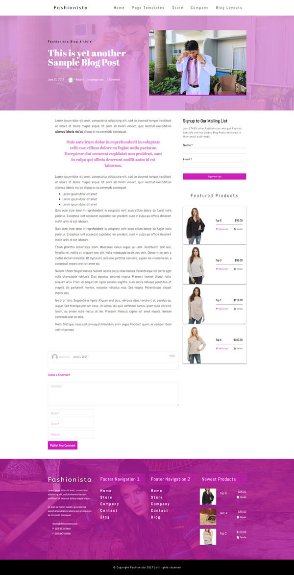 Fashionista - Fashion WordPress Theme | Website Template - Dual Column Blog Post Layout 02- Nova Marketing Intelligence