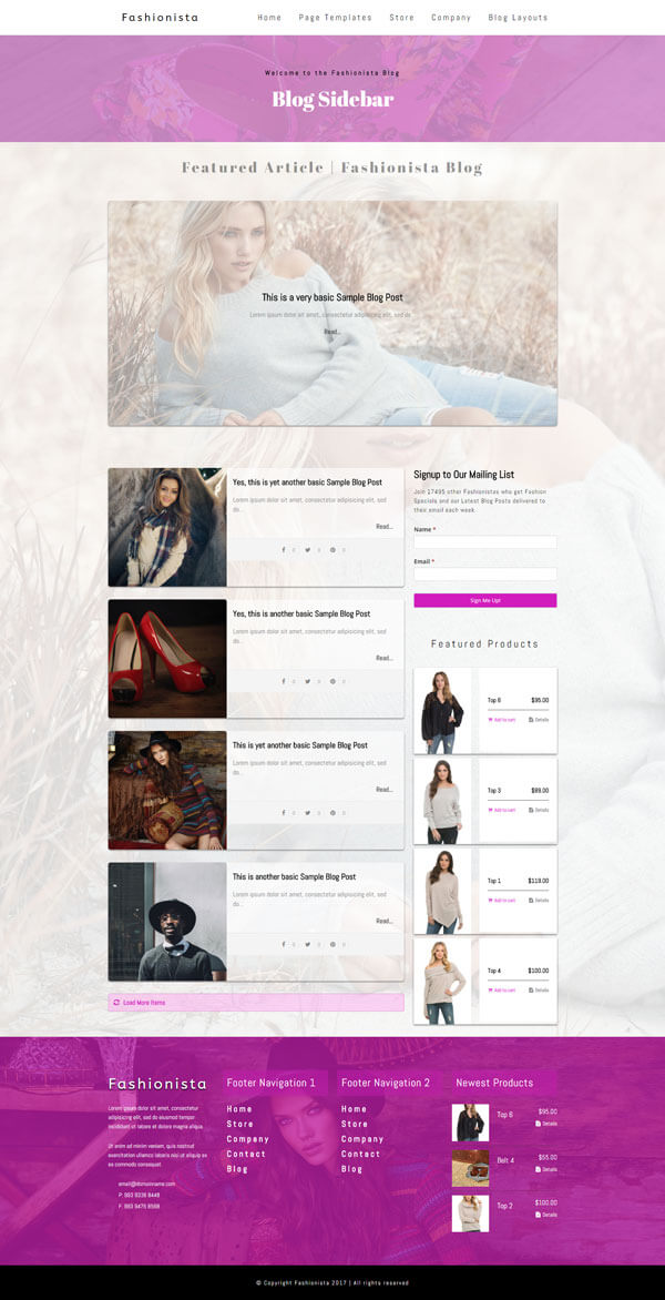 Fashionista - Fashion WordPress Theme | Website Template - Blog Layout B - Nova Marketing Intelligence