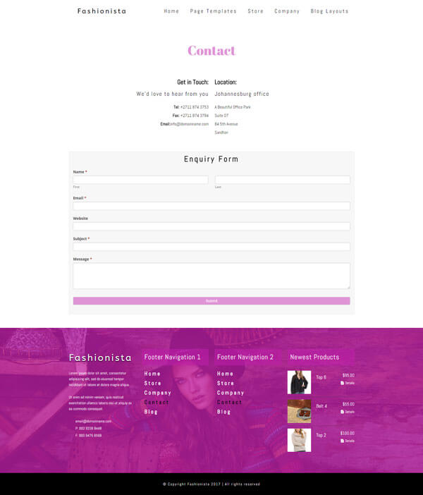 Fashionista - Fashion WordPress Theme | Website Template - Contact Page Layout - Nova Marketing Intelligence