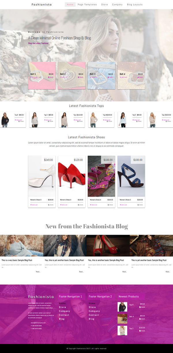 Fashionista - Fashion WordPress Theme | Website Template - Home Page Layout - Nova Marketing Intelligence