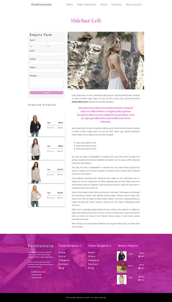 Fashionista - Fashion WordPress Theme | Website Template - Left Sidebar Page Layout - Nova Marketing Intelligence