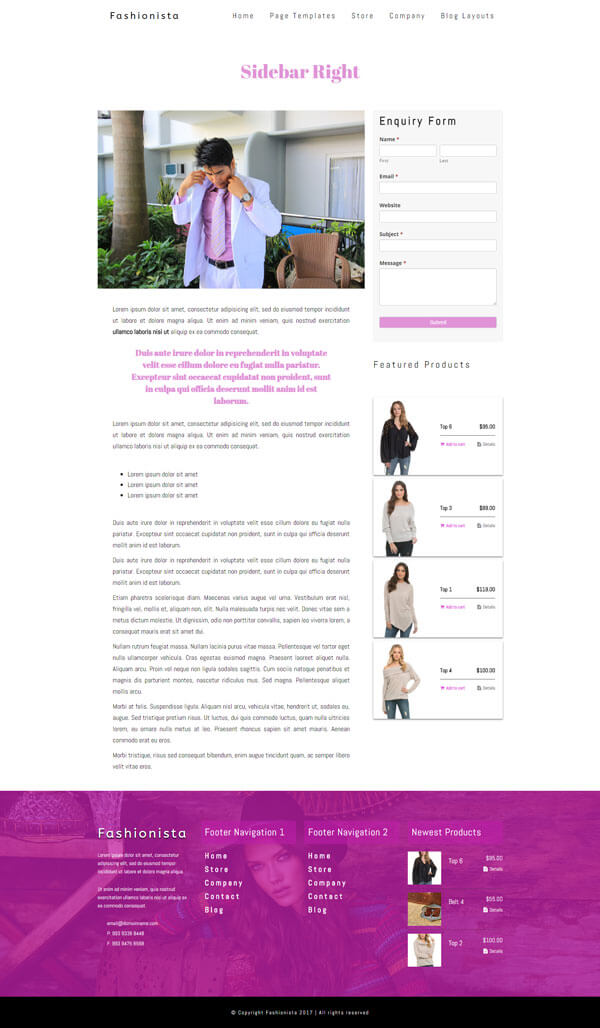 Fashionista - Fashion WordPress Theme | Website Template - Right Sidebar Page Layout - Nova Marketing Intelligence
