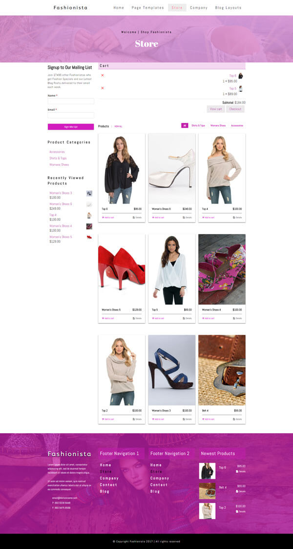 Fashionista - Fashion WordPress Theme | Website Template - eCommerce Store Page Layout - Nova Marketing Intelligence