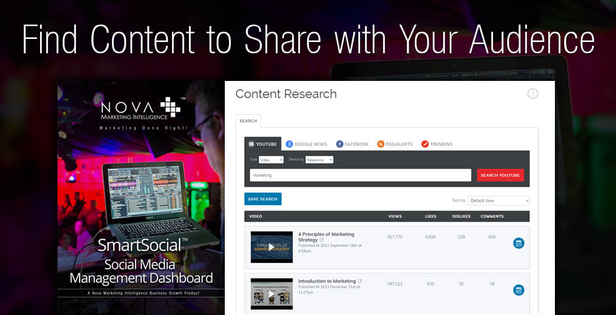 Find Content to Share with Your Audience - SmartSocial Social Media Management Dashboard